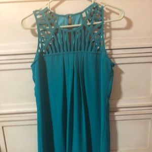 Geometric piping teal/Green Dress